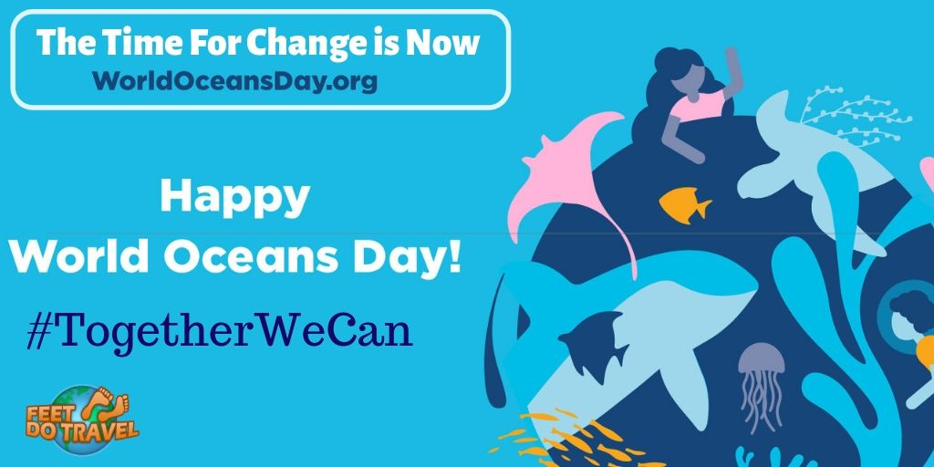 World Oceans Day, the time for change is now, together we can, honour, protect and conserve the ocean, help the ocean, reuse, recycle, refill, reduce plastic use, refuse single use, beat plastic pollution, sustainable cruising, eat fish responsibly, fish right eat right, don't touch marine life, don't stand on coral, don't feed fish, reef safe sunscreen, Ecobrick, Ecobricking, upcycle, Feet Do Travel