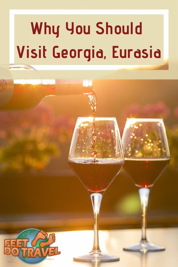 Bordering Europe and Asia, #Georgia is an off the beaten track destination with much to offer. It's the birthplace of winemaking, and is home to the picturesque Caucasus mountain region. Feet Do Travel show why you should visit Georgia. #eurasia #ExploreGeorgia #Tbilisi #Caucasus #wine #winery #europetravel #asia #thingstodo #bucketlist #traveladvice #traveltips