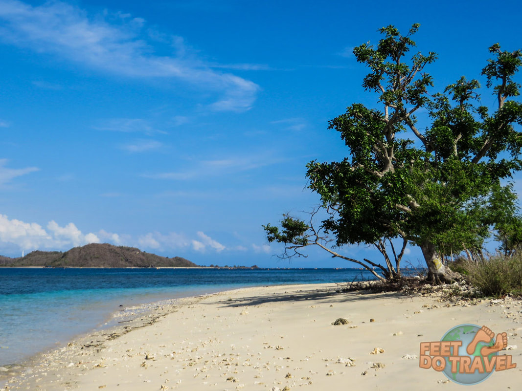 Gili Asahan, Indonesia, secret Gili Islands near Bali and Lombok. Robinson Crusoe tropical paradise island white sand beaches Feet Do Travel