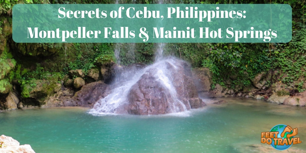 Montpeller Falls Alegria and Mainit Hot Springs Malabuyoc, day trip from Moalboal, Cebu, Philippines. How to get to Mainit Natural Hot Springs, how to get to Monpeller Falls, off the beaten track jungle adventure with Feet Do Travel