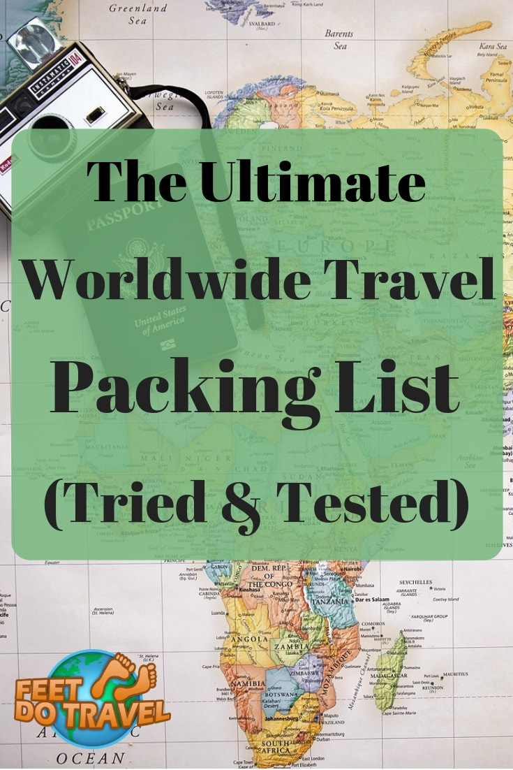 This is the ultimate packing list for worldwide Travel. Feet Do Travel share their packing tips for all your travel essentials; international travel, backpacking, cruise travel or a European break. Toiletries, electronics, anti-theft protection and how to travel plastic free. #pack #packing #packingtips #packinglist #suitcase #backpack #cruise #traveltipspacking #traveltips #travelchecklist #travelessentials #travel #travelblog #travelblogger #travelling #travelguides #traveladvice